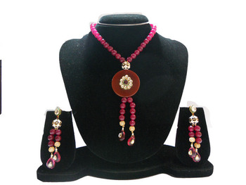 Maroon Color Beads Necklace Set
