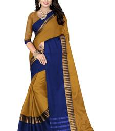 Buy Yellow woven cotton poly saree with blouse cotton-saree online