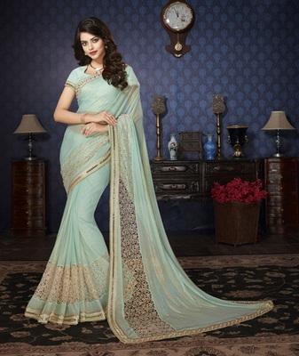 Sky Blue Embellished Lycra saree with blouse