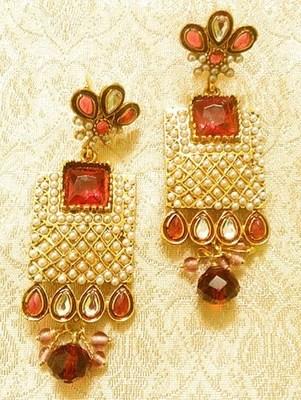 Designer Stunning Rani/Pink Copper Alloy Earrings