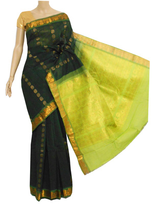 Dark bottle green and lime green zari work south cotton saree without blouse
