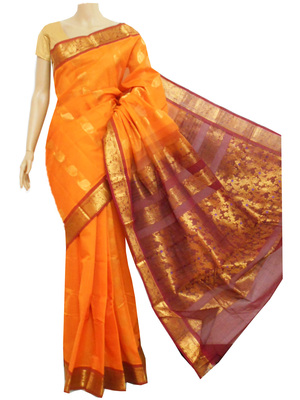 Saffron and maroon zari work south cotton saree without blouse