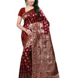 Buy Brown printed banarasi cotton saree with blouse banarasi-saree online