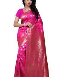 Buy Pink printed banarasi cotton saree with blouse banarasi-saree online