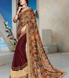 Buy Brown printed chiffon saree with blouse diwali-sarees-collection online