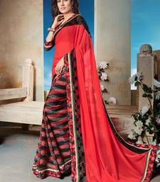 Buy Red printed georgette saree with blouse diwali-sarees-collection online