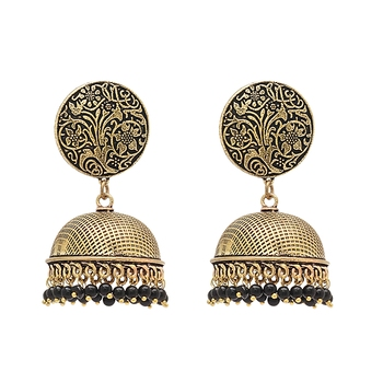 Black Color Beads Traditional Oxidised Earrings Jewellry