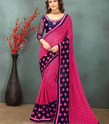 Buy Dark pink printed georgette saree with blouse printed-saree online