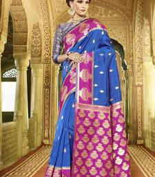 Buy Blue woven silk saree with blouse handloom-saree online
