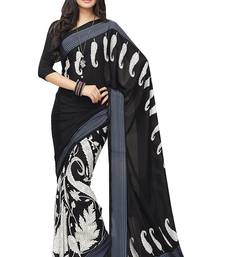 Buy Multicolor printed crepe saree with blouse Woman online