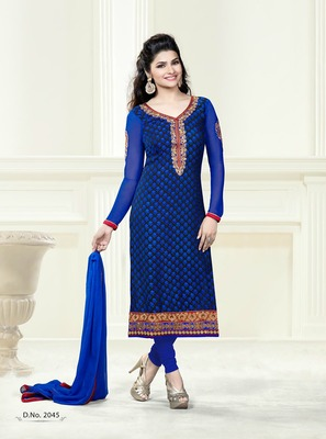 Blue Embroidery Pure Brasso Semi Stitched Designer Straight Suit