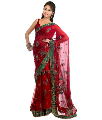 Red Net Georgette Designer Saree With Blouse