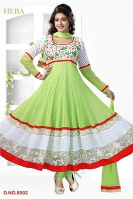 Green Embroidered georgette Readymade Salwar Kameez with matching Dupatta