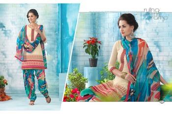 New Designer Cream Printed Patiala Dress