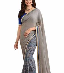 Buy Multicolor plain georgette saree with blouse below-1500 online