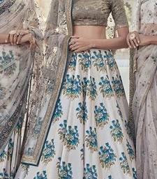 Buy White embroidered silk unstitched lehenga lehenga-choli online