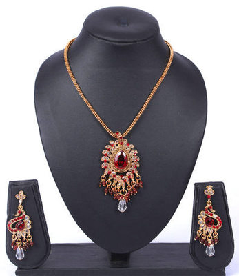 Red Gold Polki Crystal Teardrop Pendant Set