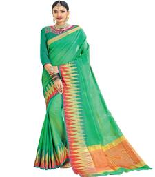 Buy green printed cotton saree with blouse ethnic-saree online