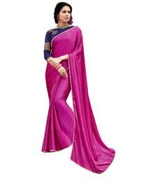 Buy pink printed satin saree with blouse bridal-saree online