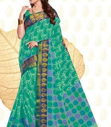Buy Green woven cotton saree with blouse handloom-saree online