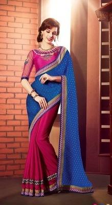 Style Blue Art Silk embroidered saree.