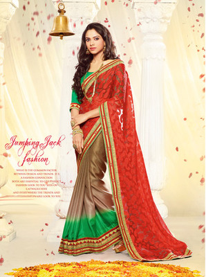 Red Embroidery  Poly Georgette