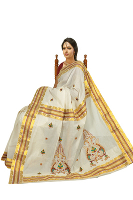cream colour sarees customised with brocade horizontal multicolour work border.