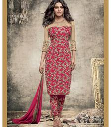 Buy Pink and beige embroidered georgette and net semi stitched salwar with dupatta straight-suit online