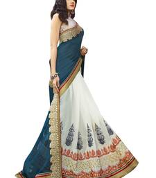 Buy white embroidered georgette saree with blouse ethnic-saree online