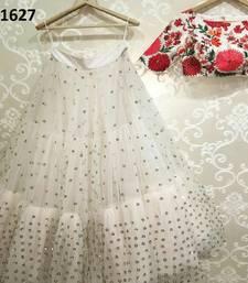 Buy White embroidered net unstitched lehenga lehenga-choli online