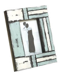 Buy White and Blue Matte contour Wooden Picture Frame photo-frame online