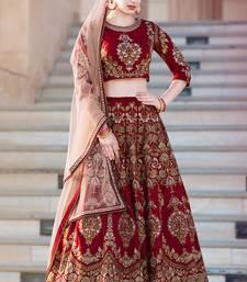 Buy Maroon embroidered silk unstitched lehenga ethnic-lehenga online