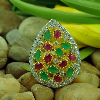 Paan Shape Red and Green Stone Studded AD Ring