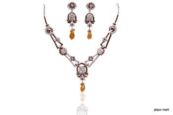 Beautiful Golden Stones Indian Fashion Necklace set