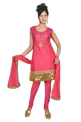 Pink Chanderi Silk Readymade Churidar Kameez with Dupatta