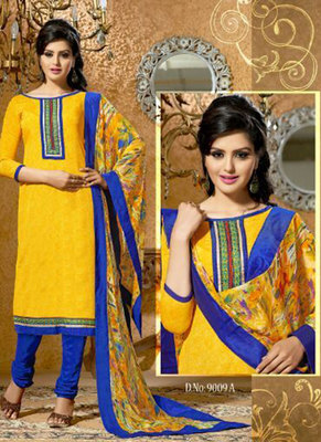 Saesha Cotton Thread Embroidered Yellow & Blue Colored Salwar Suit