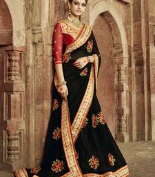 Buy black embroidered silk saree with blouse bridal-saree online