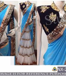 Buy Multicolor embroidered georgette saree with blouse uppada-saree online