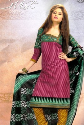 Dazzling Pink Printed Cotton  Dress Material