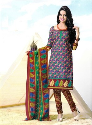 Fabulous Multi Color Printed Cotton  Dress Material