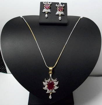 CZ Ruby Red Designer Pendant 016