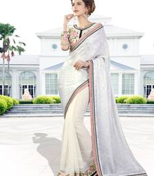 Buy Off white embroidered chiffon saree with blouse party-wear-saree online