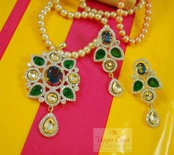 CZ Kundan Pendent Earring Jewellery Set