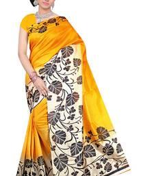 Buy Yellow printed bhagalpuri saree with blouse bhagalpuri-silk-saree online