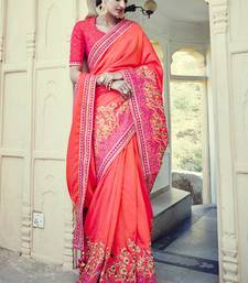 Buy pink embroidered Tussar Silk saree with blouse designer-embroidered-saree online