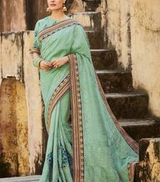 Buy blue embroidered Pure Tussar Silk Pallu With Silk Skirt saree with blouse designer-embroidered-saree online