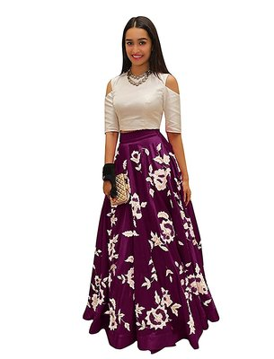 purple dupion_silk embroidered lehenga