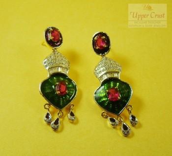 Ruby CZ Meena Dangler Earrings