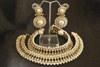 White colour Pearl Anklets & Pearl Earrings