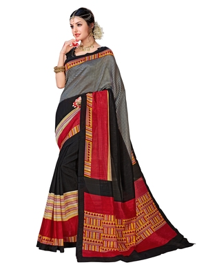 Black printed Mysore Jute and Cotton Linen Blend Silk saree with blouse